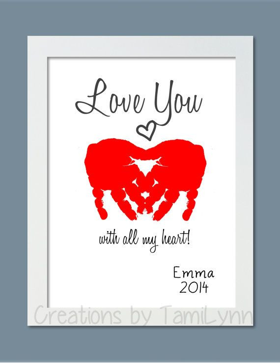 Best ideas about Baby Handprint Gift Ideas . Save or Pin Heart Love You Baby Handprint Art Personalized Baby Now.