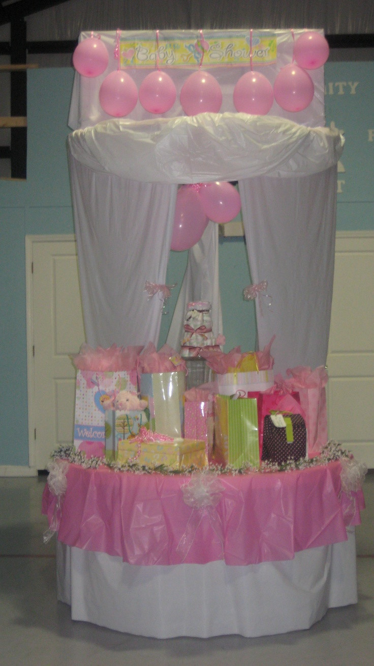 Best ideas about Baby Shower Gift Table Ideas . Save or Pin Baby shower t table decorated over a basketball goal in Now.