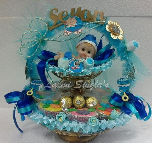 Best ideas about Baby Shower Return Gift Ideas . Save or Pin Baby Shower Return Gift Basket Boy गोद भराई की सजावट का Now.