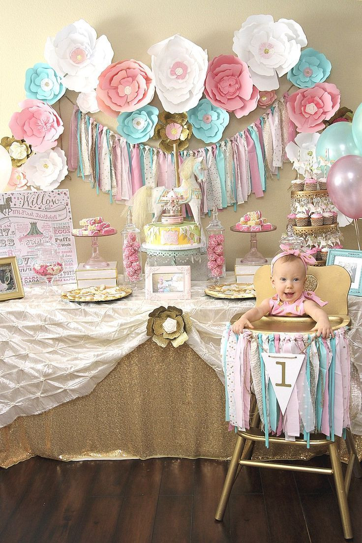 Best ideas about Baby's First Birthday Party Ideas . Save or Pin A Pink & Gold Carousel 1st Birthday Party in 2019 Now.