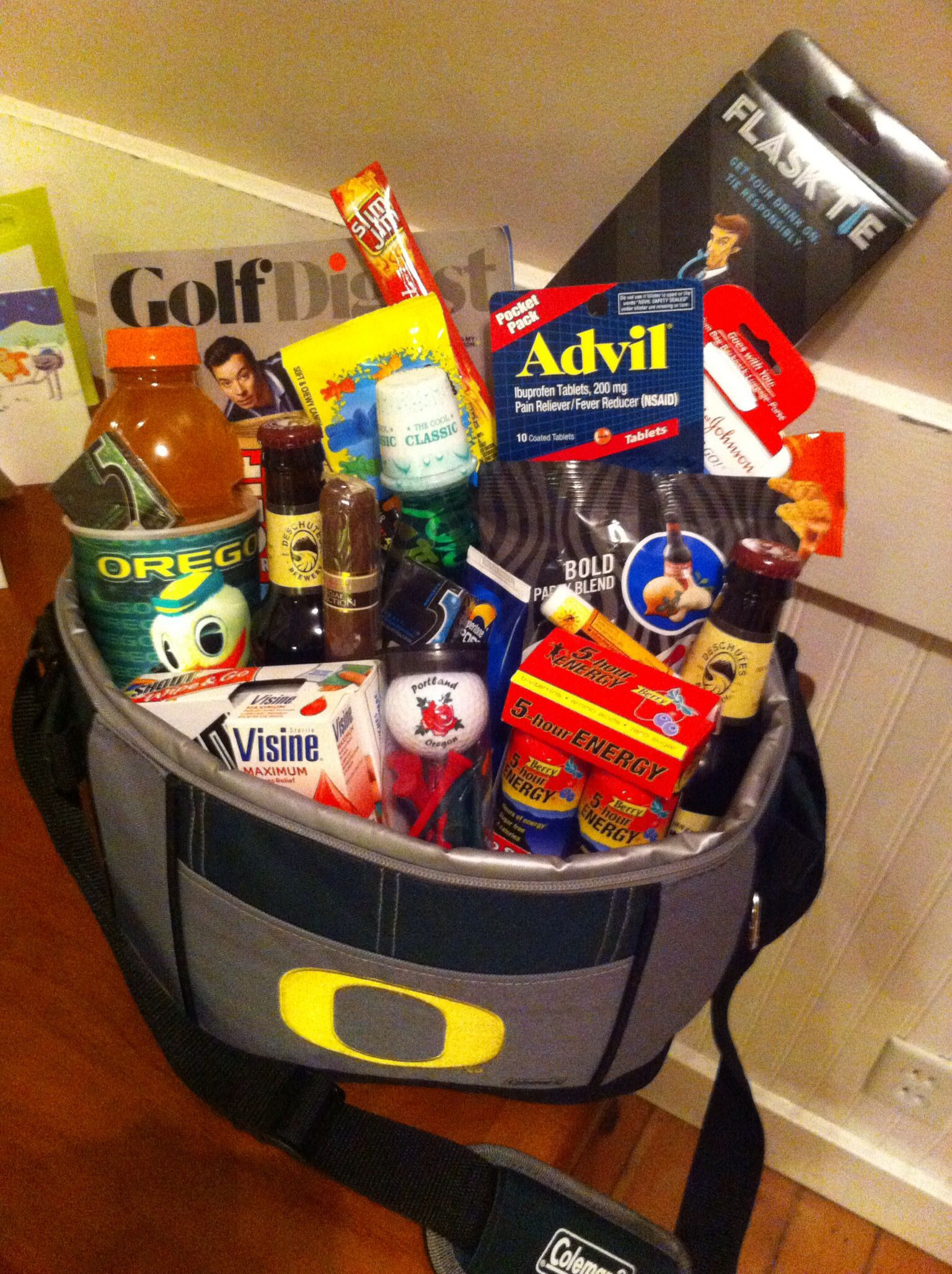 Best ideas about Bachelor Party Gift Ideas . Save or Pin Bachelor party golf weekend survival kit for groom to be Now.