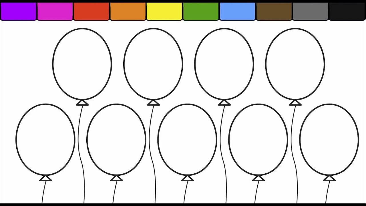 Best ideas about Balloon Coloring Pages For Kids . Save or Pin Learn Colors for kids and Color this Balloon Coloring Page Now.
