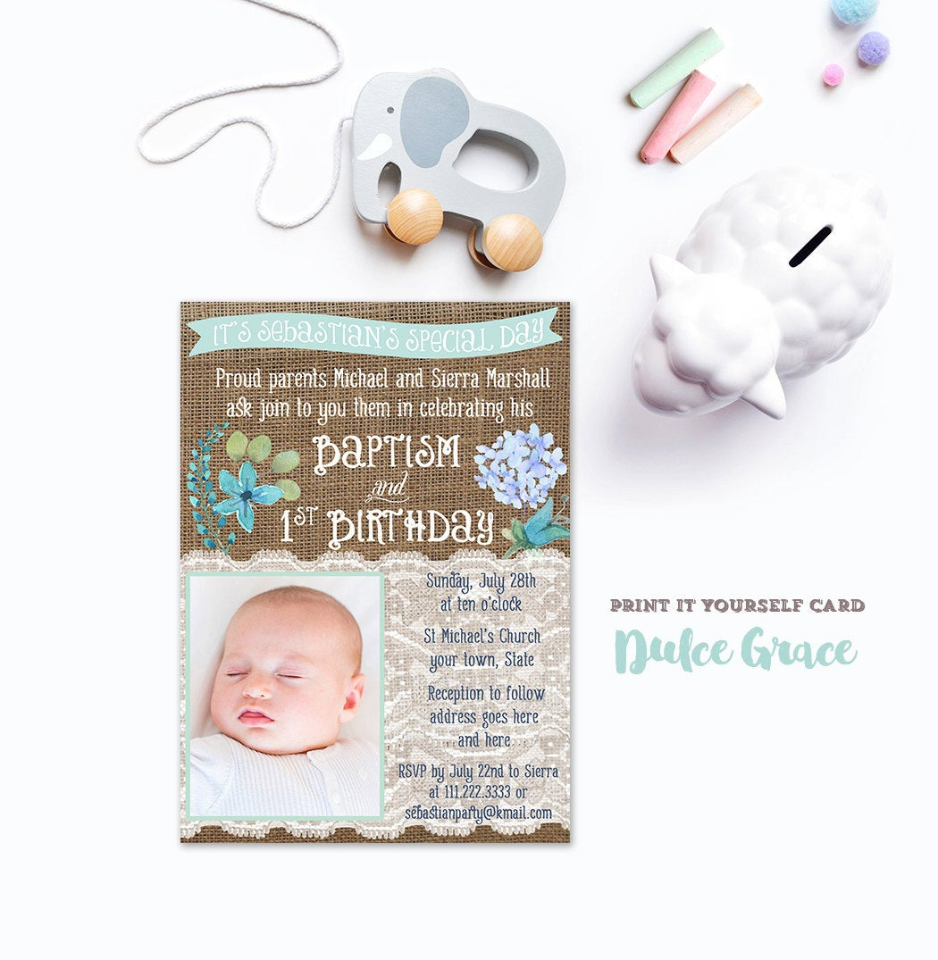 Best ideas about Baptism Birthday Invitations . Save or Pin boy baptism 1st birthday invitation DIY PRINTABLE baptism Now.