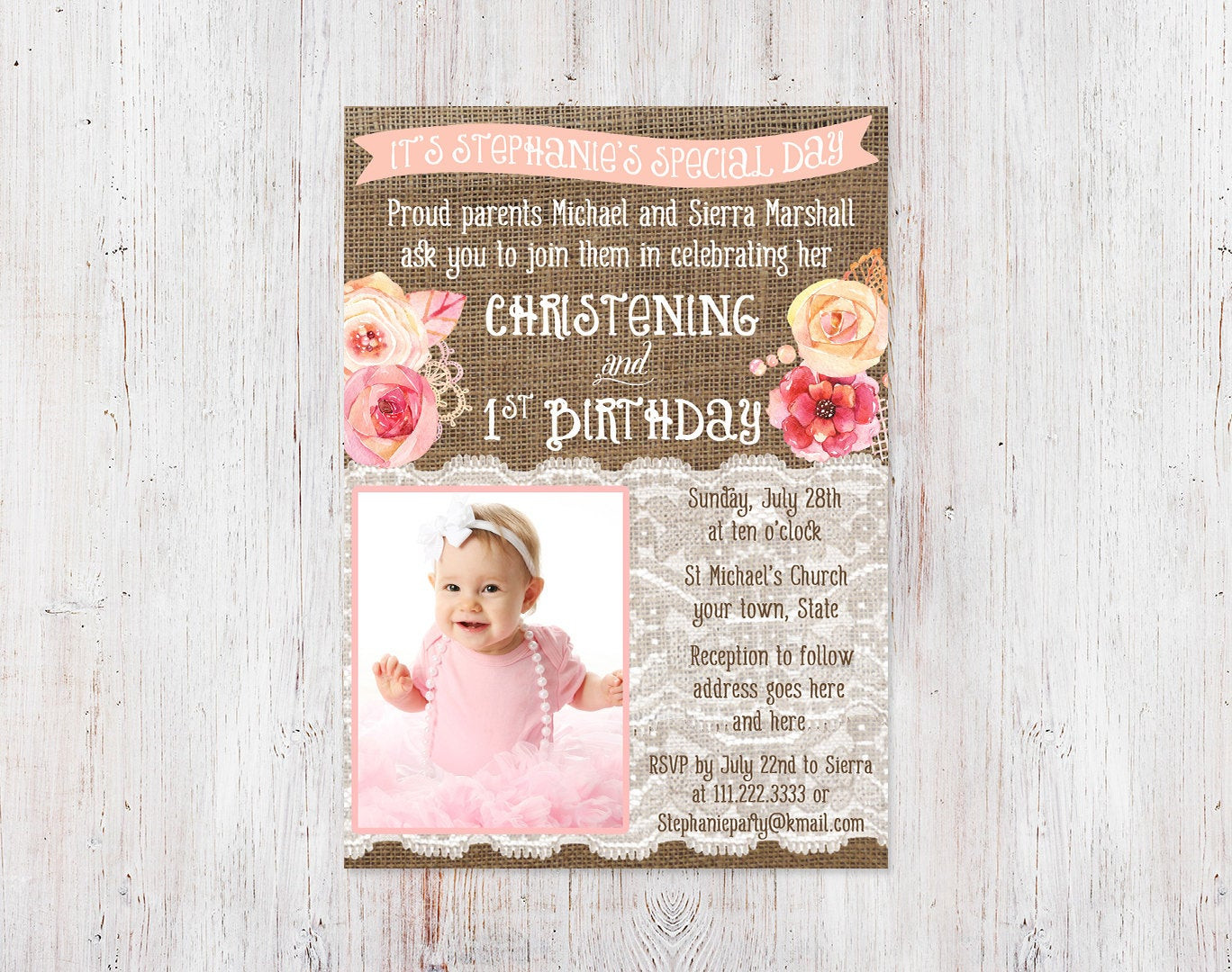 Best ideas about Baptism Birthday Invitations . Save or Pin Christening and 1st birthday invitations Bautizo 1er cumple Now.