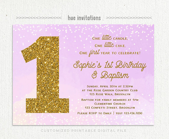 Best ideas about Baptism Birthday Invitations . Save or Pin baby girls 1st birthday baptism invitation violet purple Now.