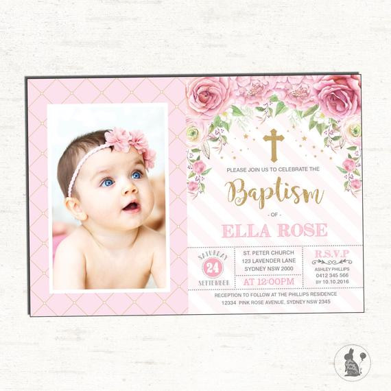 Best ideas about Baptism Birthday Invitations . Save or Pin Girl Baptism Invitation Pink Gold Christening Printable Now.