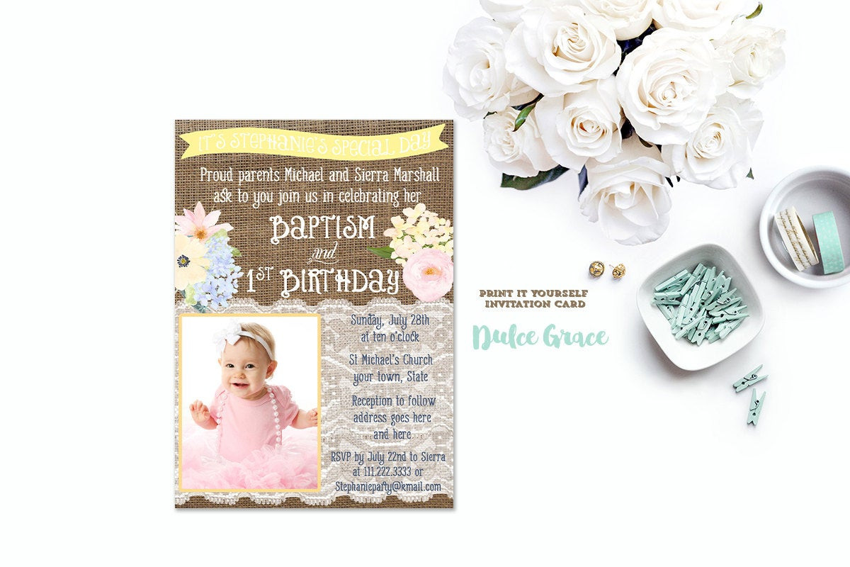 Best ideas about Baptism Birthday Invitations . Save or Pin 1st birthday and baptism invitation DIY PRINTABLE baptism Now.