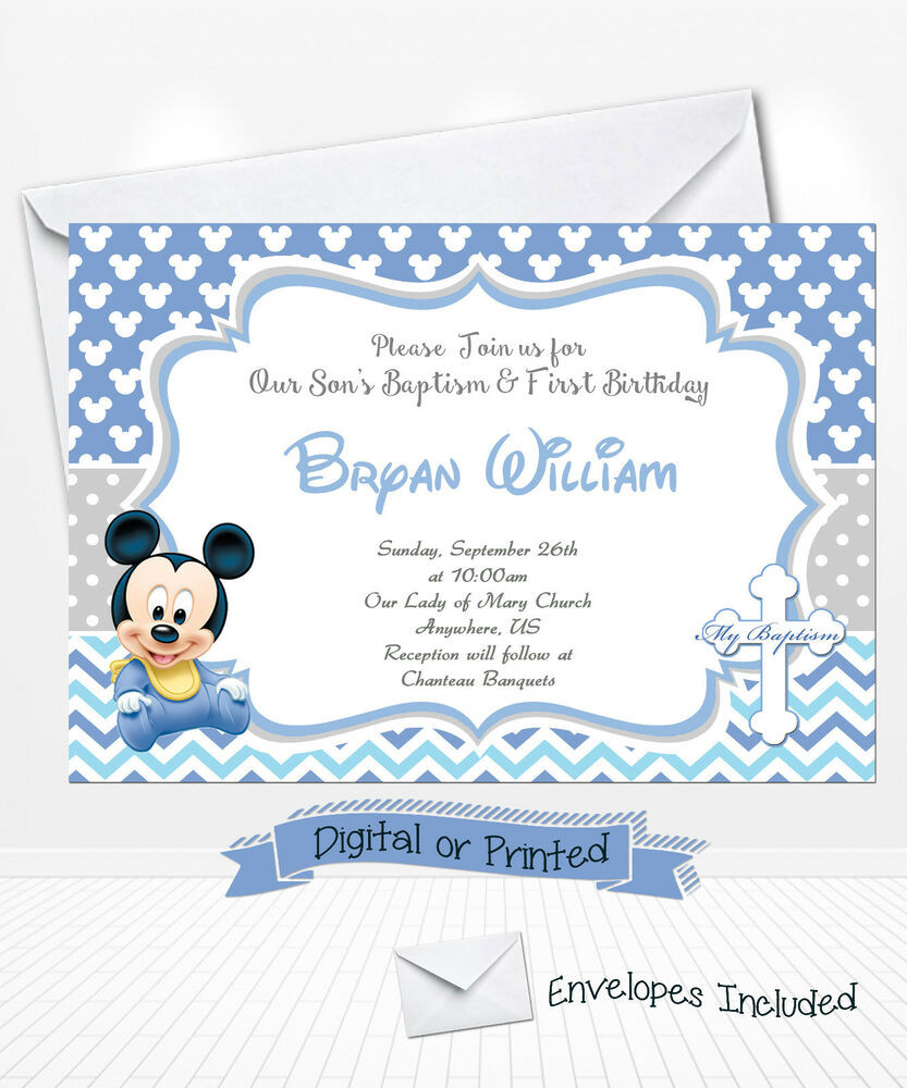 Best ideas about Baptism Birthday Invitations . Save or Pin PRINTED Baby Mickey Birthday Invitations Mickey Baptism Now.