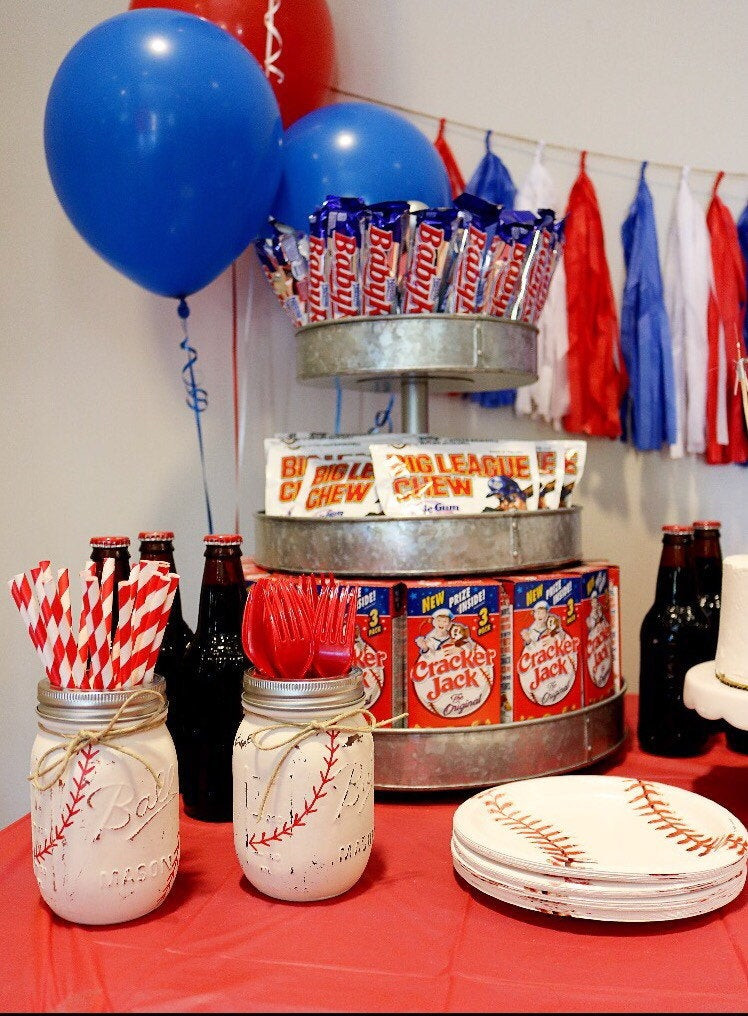 Best ideas about Baseball Themed Birthday Party . Save or Pin Painted Mason Jar Set Baseball Themed Party Decor Baseball Now.