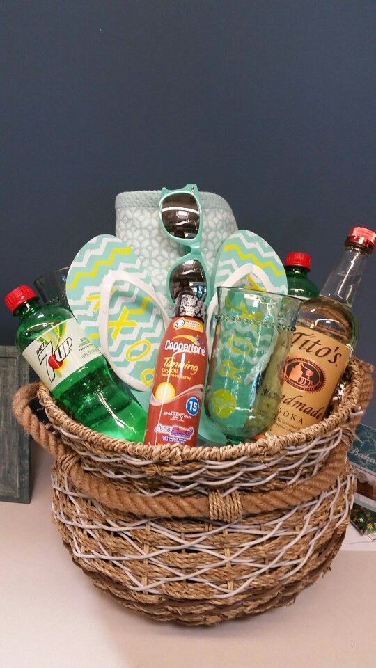 Best ideas about Beach Gift Basket Ideas . Save or Pin Relaxing summer beach themed t basket Birthday basket Now.