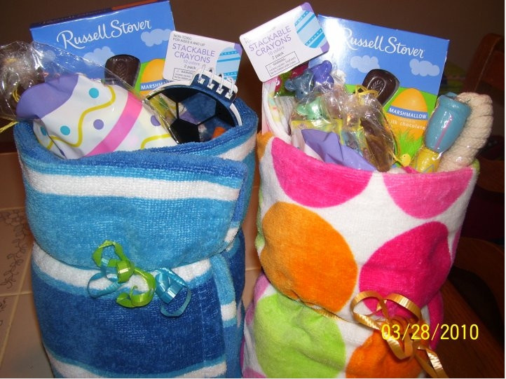 Best ideas about Beach Gift Basket Ideas . Save or Pin Frugal Easter Idea Beach Towel Baskets FTM Now.