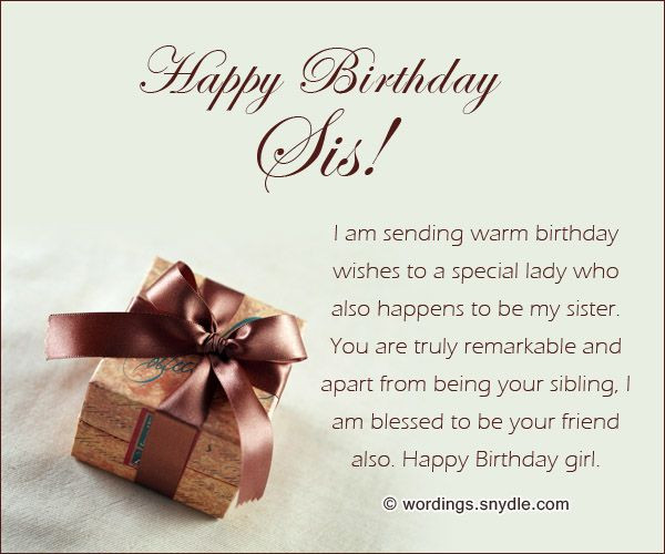Best ideas about Best Birthday Wishes For Sister . Save or Pin Sister Birthday Messages Sisters are a best friend When Now.