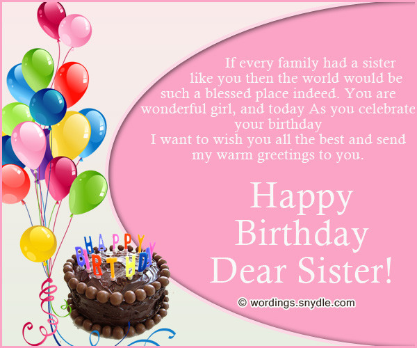 Best ideas about Best Birthday Wishes For Sister . Save or Pin Happy Birthday Wishes for Sister Wordings and Messages Now.
