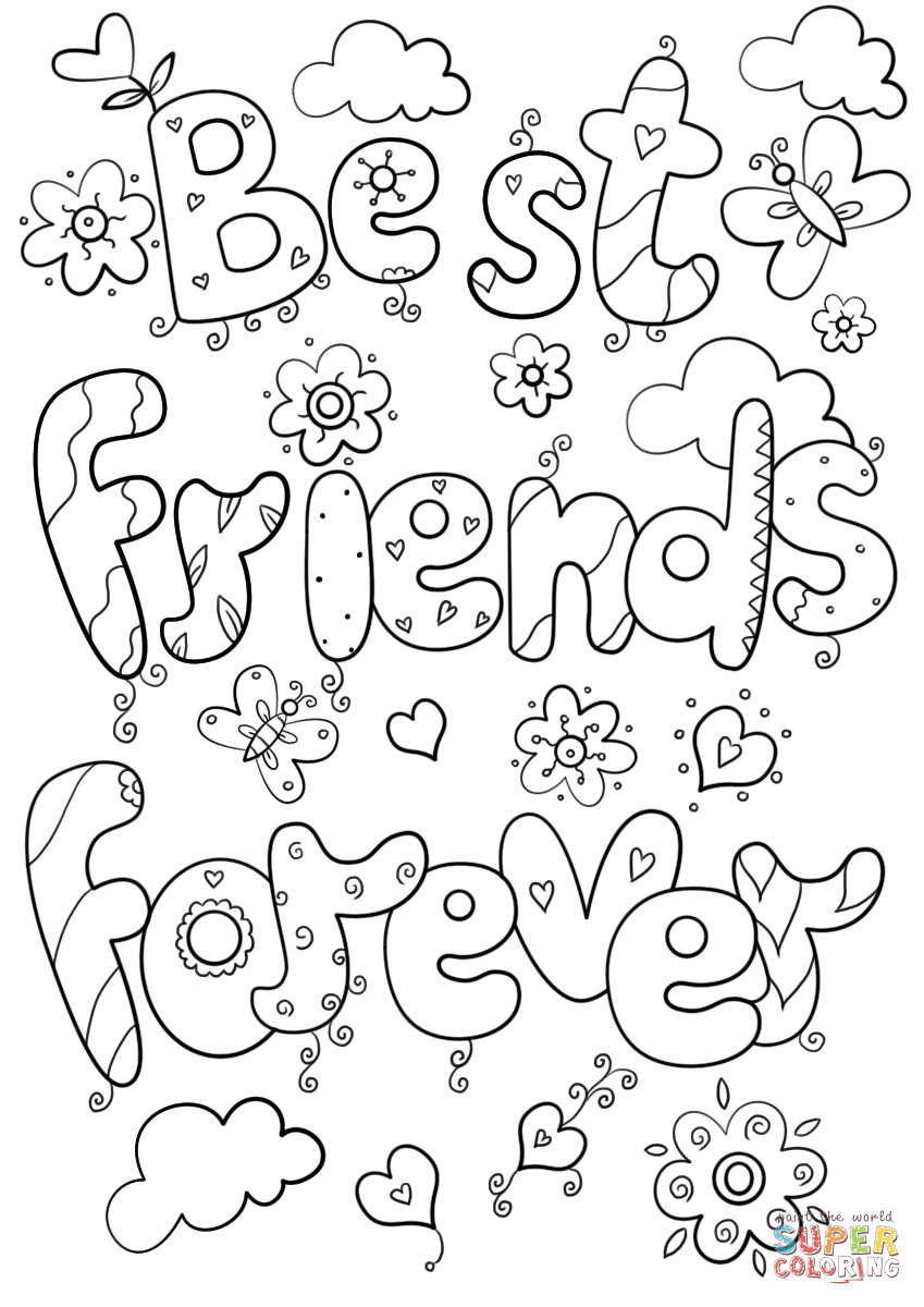 Best ideas about Best Friends Forever Coloring Pages For Girls . Save or Pin Best Friends Forever coloring page Now.