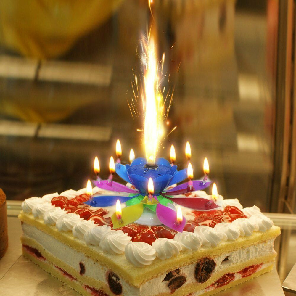 Best ideas about Birthday Cake Candles . Save or Pin Music Singing Candle Spin Lotus Happy Birthday Wedding Now.