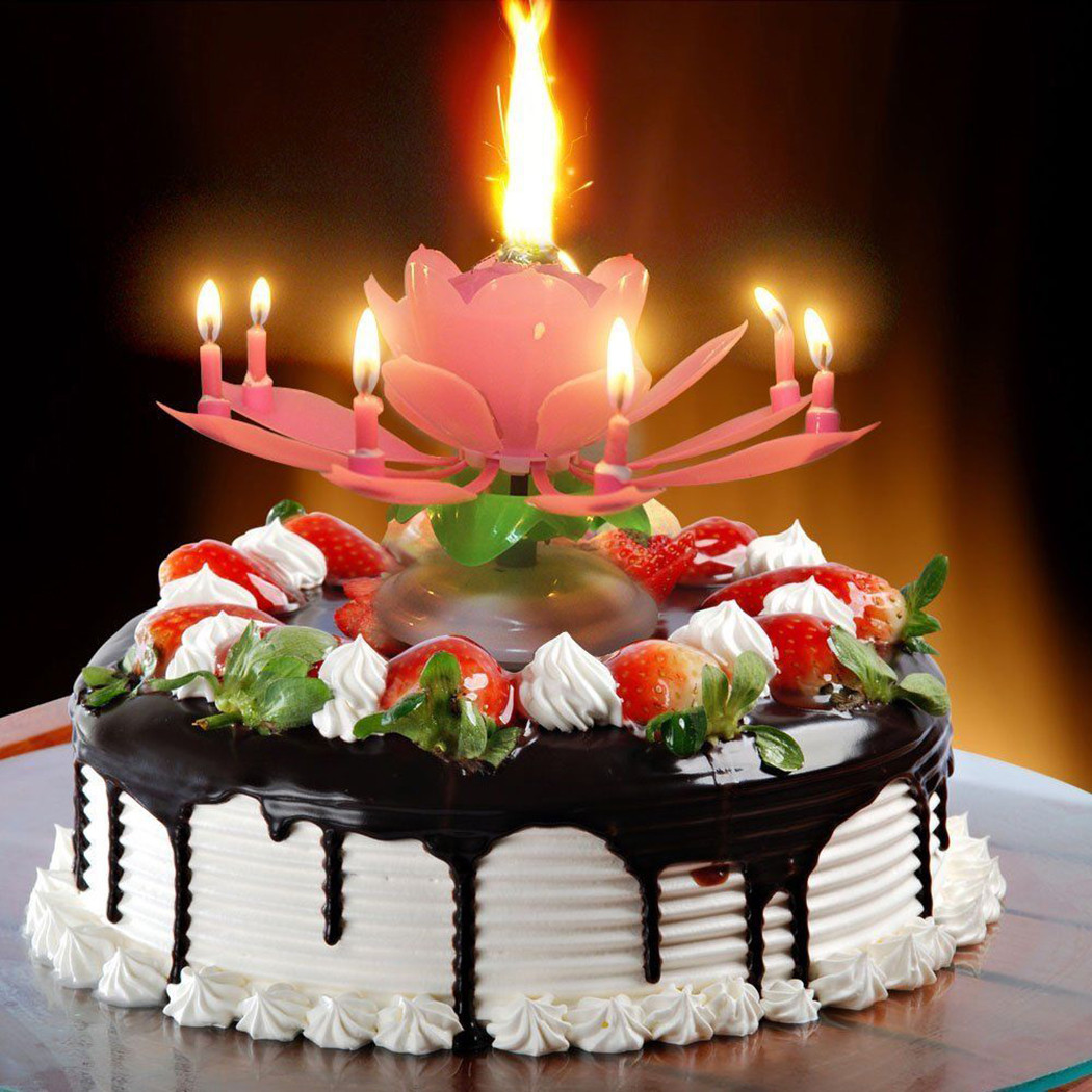 Best ideas about Birthday Cake Candles . Save or Pin Birthday Candle Lotus Flower Blossom Musical Party Cake Now.