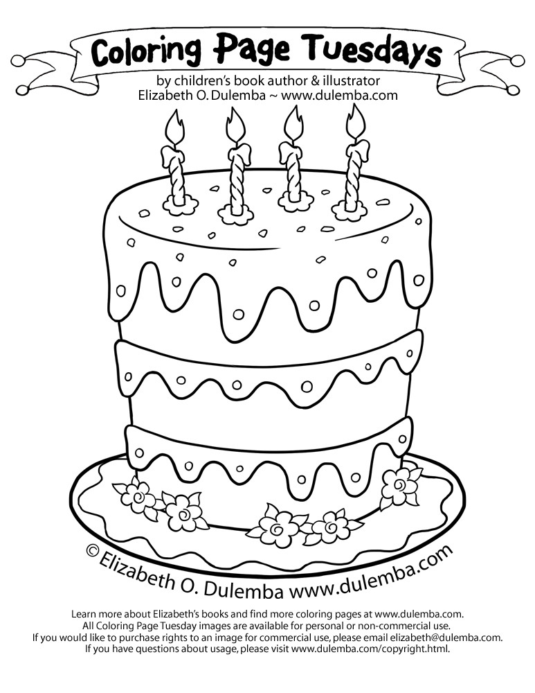 Best ideas about Birthday Cake Coloring Pages . Save or Pin dulemba Coloring Page Tuesdays Birthday Cake for 5th Now.