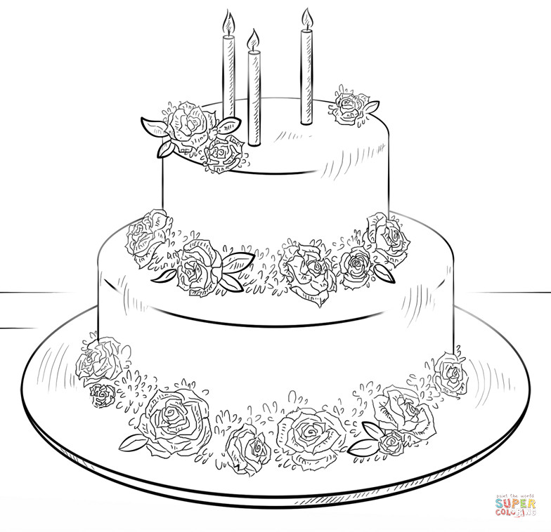 Best ideas about Birthday Cake Coloring Pages . Save or Pin Birthday cake with roses coloring page Now.