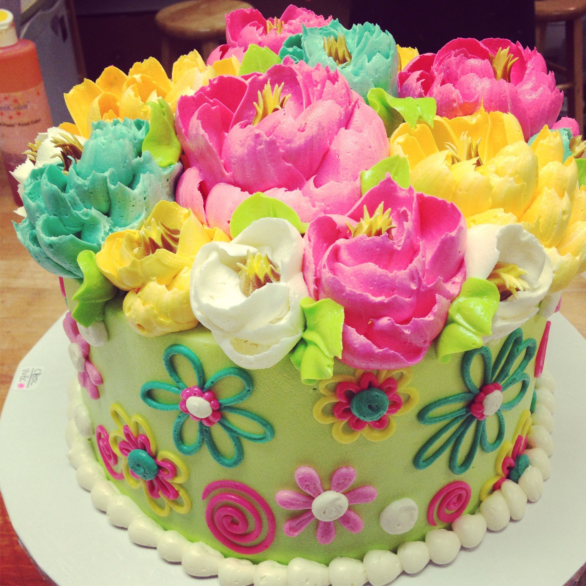 Best ideas about Birthday Cake Flowers . Save or Pin Adorable flower themed buttercream birthday cake from The Now.