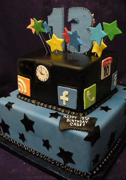 Best ideas about Birthday Cake For 13 Year Old Boy . Save or Pin Two tier 13th birthday cake with Internet theme JPG Now.
