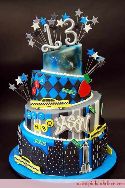 Best ideas about Birthday Cake For 13 Year Old Boy . Save or Pin Love the contrast of the black & blue Teen Boy Topsy Now.
