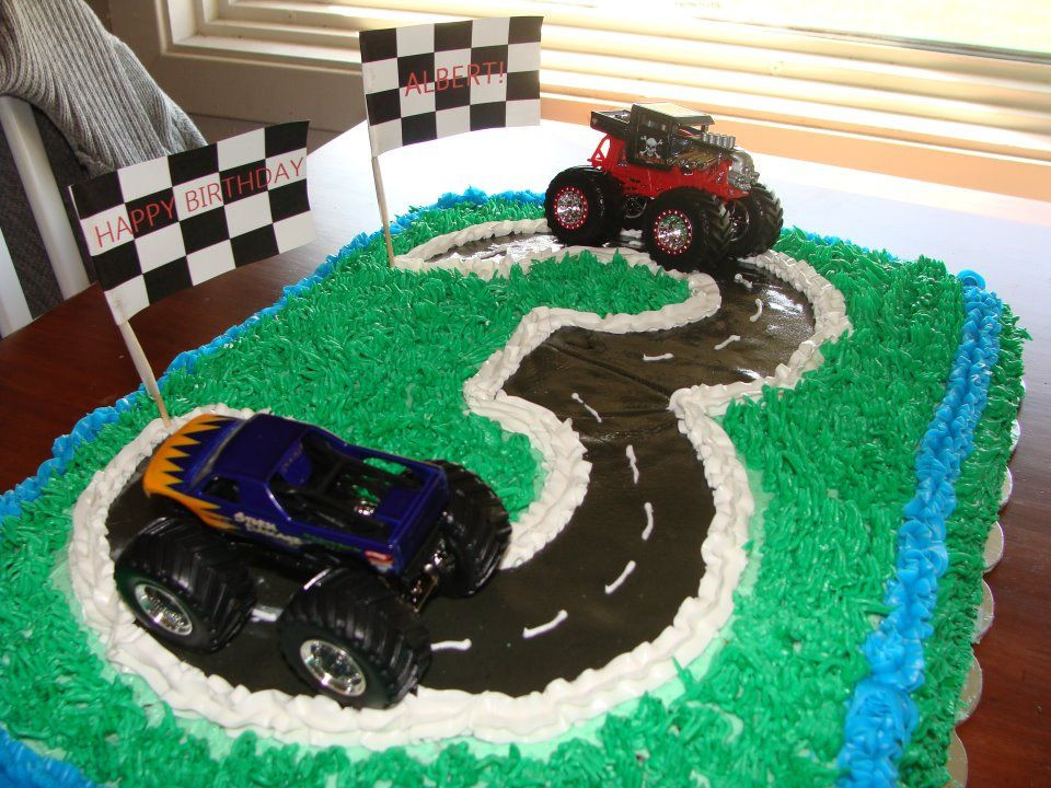 Best ideas about Birthday Cake For 3 Year Old Boy . Save or Pin 3 year old boy birthday cake Grass tip gum paste road Now.