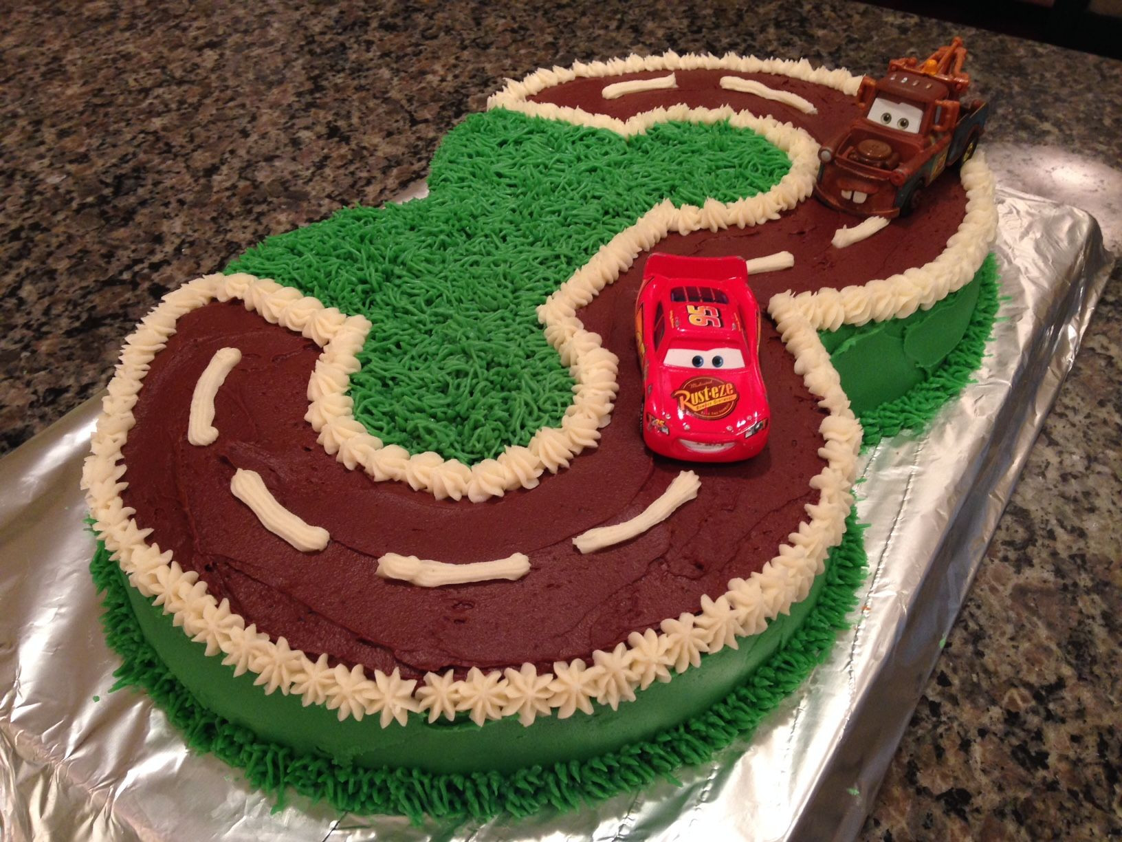 Best ideas about Birthday Cake For 3 Year Old Boy . Save or Pin I made this Cars birthday cake for my 3 year old nephew Now.