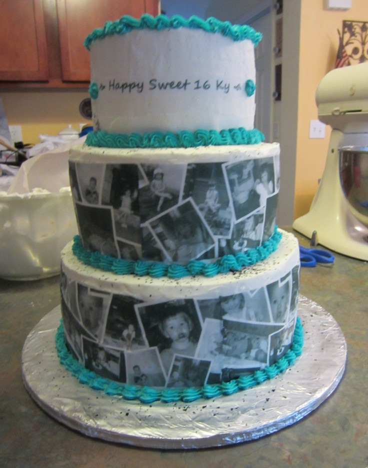 Best ideas about Birthday Cake Photo . Save or Pin Sweet 16 collage cake Party ideas Now.