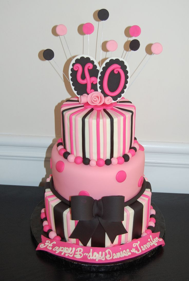 Best ideas about Birthday Cake Photo . Save or Pin 40th Birthday cake pink and black Now.