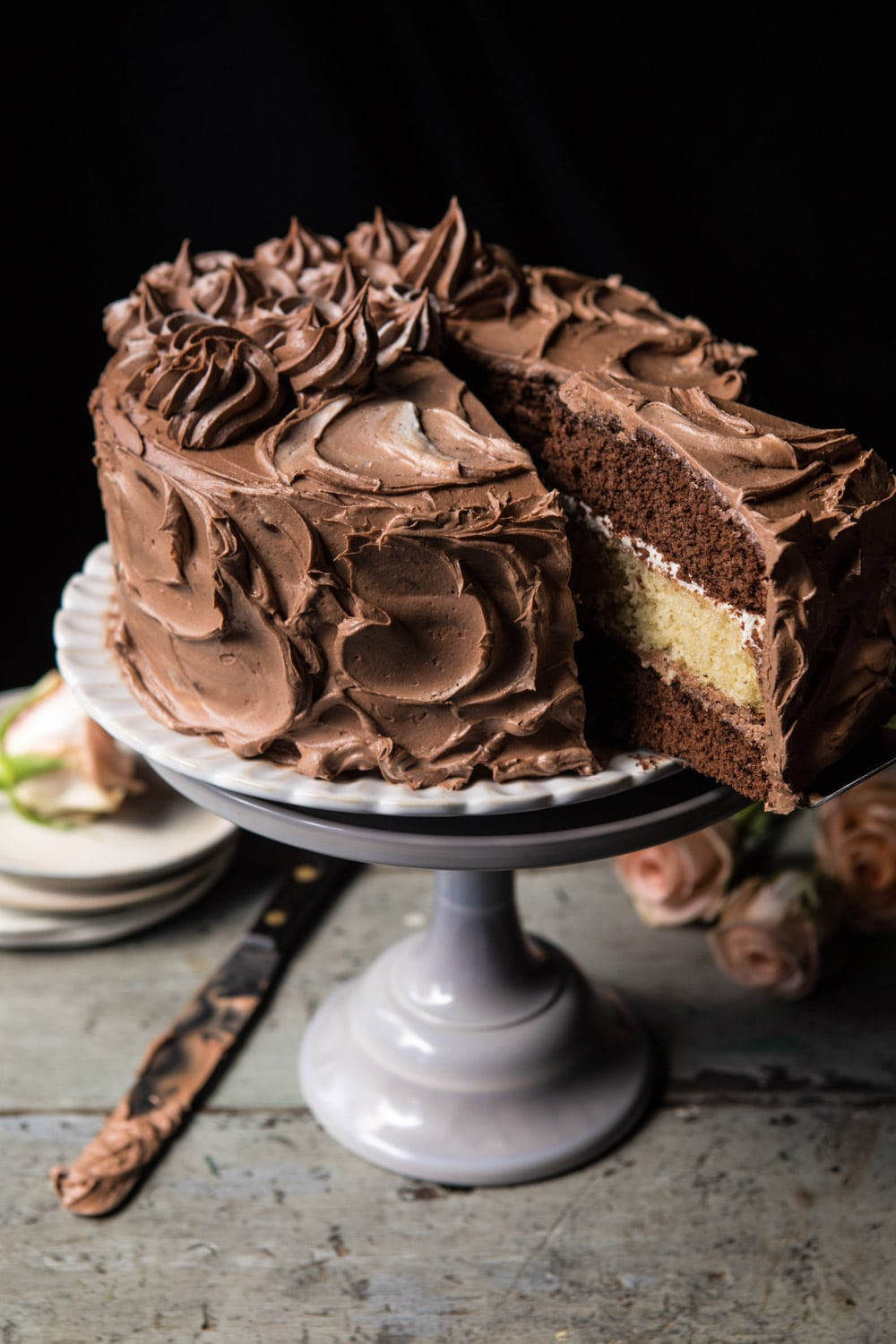 Best ideas about Birthday Cake Pics . Save or Pin Better To her Chocolate Vanilla Birthday Cake Half Now.