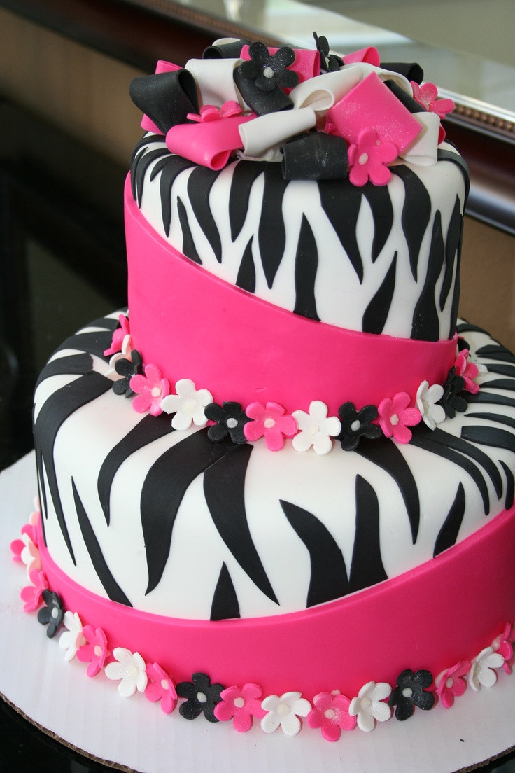 Best ideas about Birthday Cake Pics . Save or Pin Pink and Black Zebra cake for the girls Now.