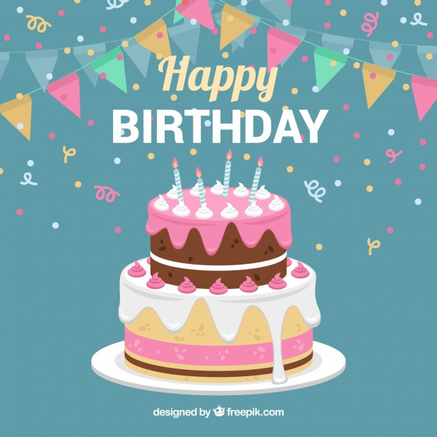 Best ideas about Birthday Cake Vector . Save or Pin Birthday cake background with garland Vector Now.