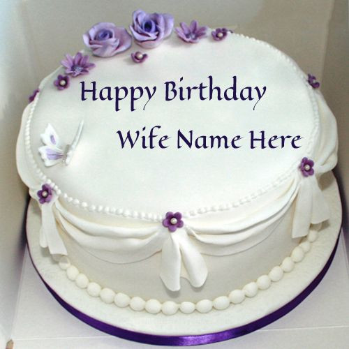 Best ideas about Birthday Cake With Name . Save or Pin Write Name Violet Roses Birthday Cake For Wife Now.