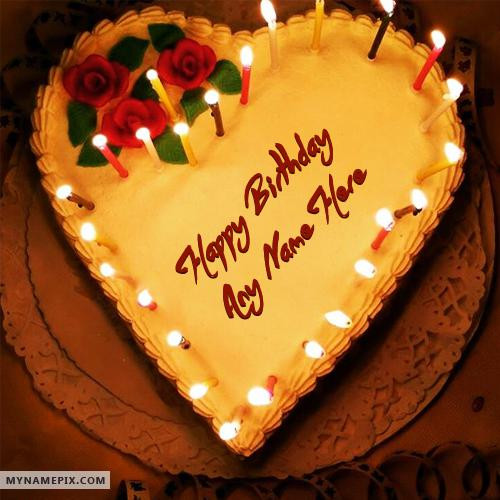 Best ideas about Birthday Cake With Names . Save or Pin Candles Heart Birthday Cake With Name Now.