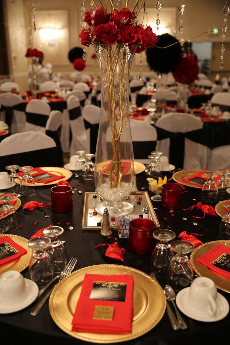 Best ideas about Birthday Decorations . Save or Pin Red black and gold table decorations for 50th birthday Now.