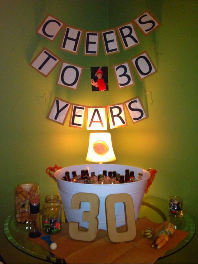 "Best ideas about Birthday Decorations For Him . Save or Pin Homemade ""Cheers to 30 years"" banner for the drink table Now."