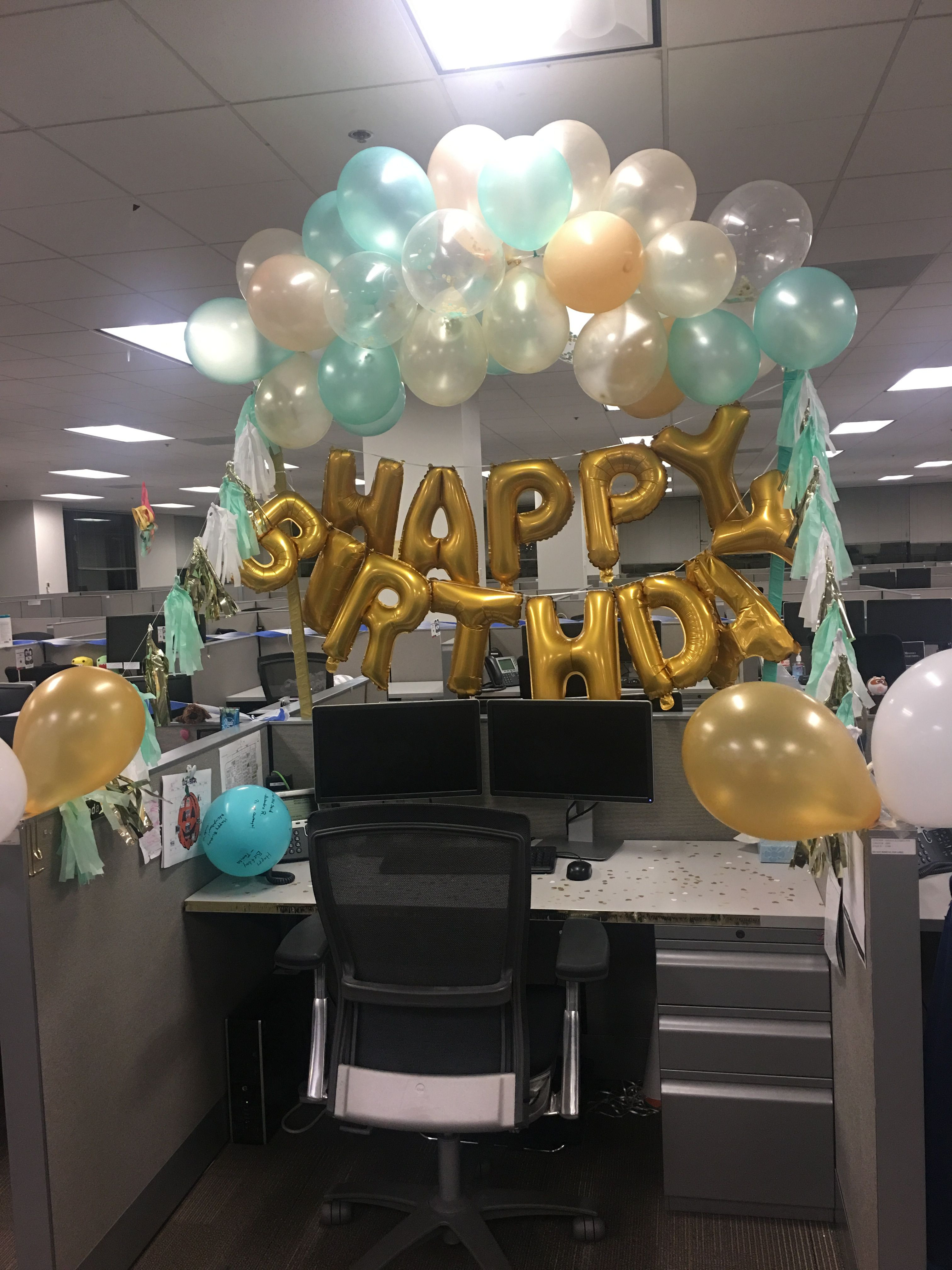 Best ideas about Birthday Desk Decorations . Save or Pin Mint green and gold desk birthday decorations Now.