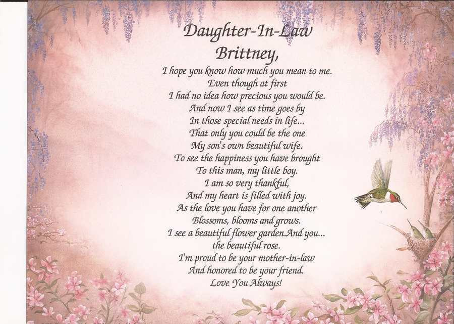 Best ideas about Birthday Gift Ideas For Daughter In Law . Save or Pin Personalized Daughter In Law Poem Gift Birthday Wedding Now.