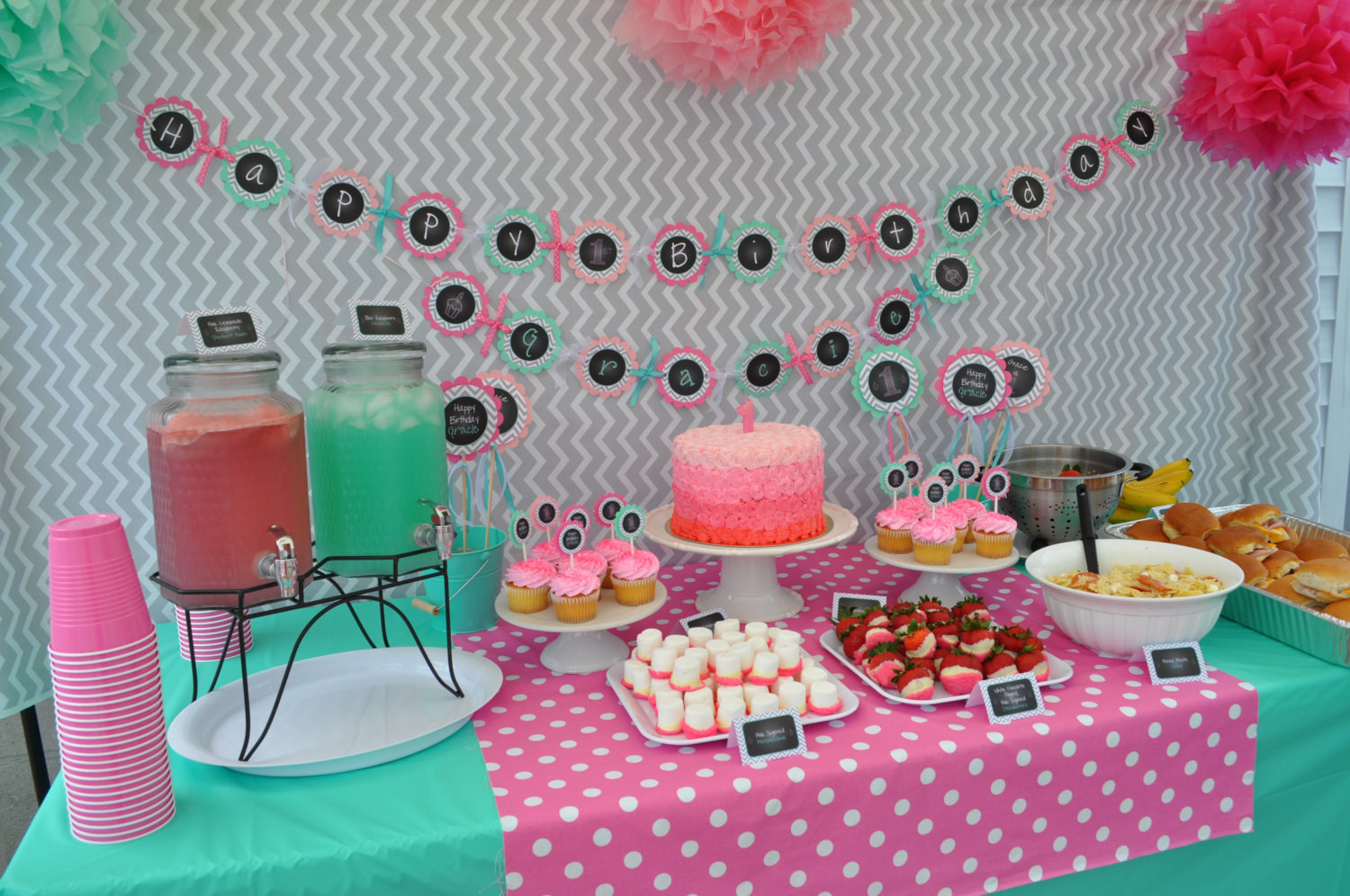 Best ideas about Birthday Girl Decorations . Save or Pin 1st Birthday Favor Tags – Girls 1st Birthday Decorations Now.