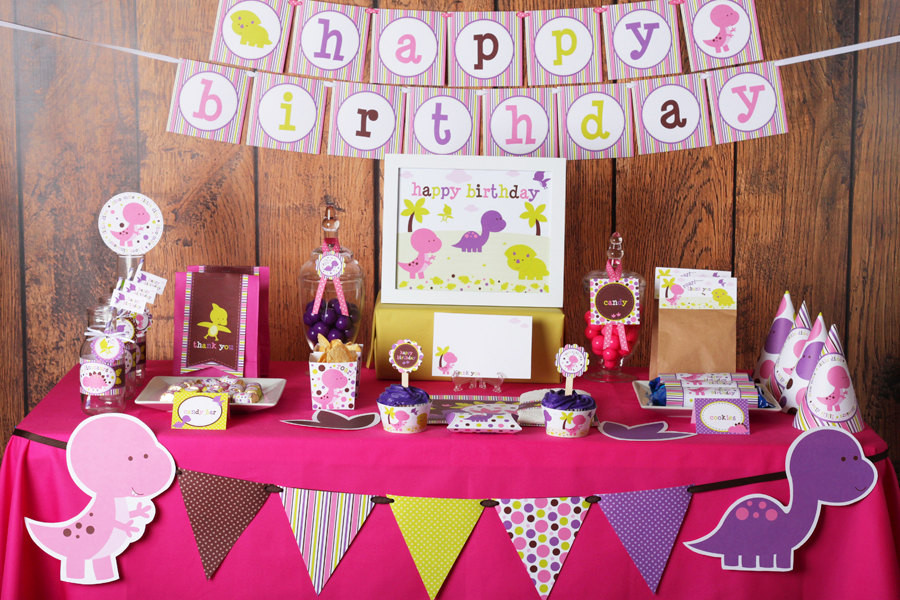 Best ideas about Birthday Girl Decorations . Save or Pin Girl Dinosaurs Birthday Party Printable Decorations Instant Now.