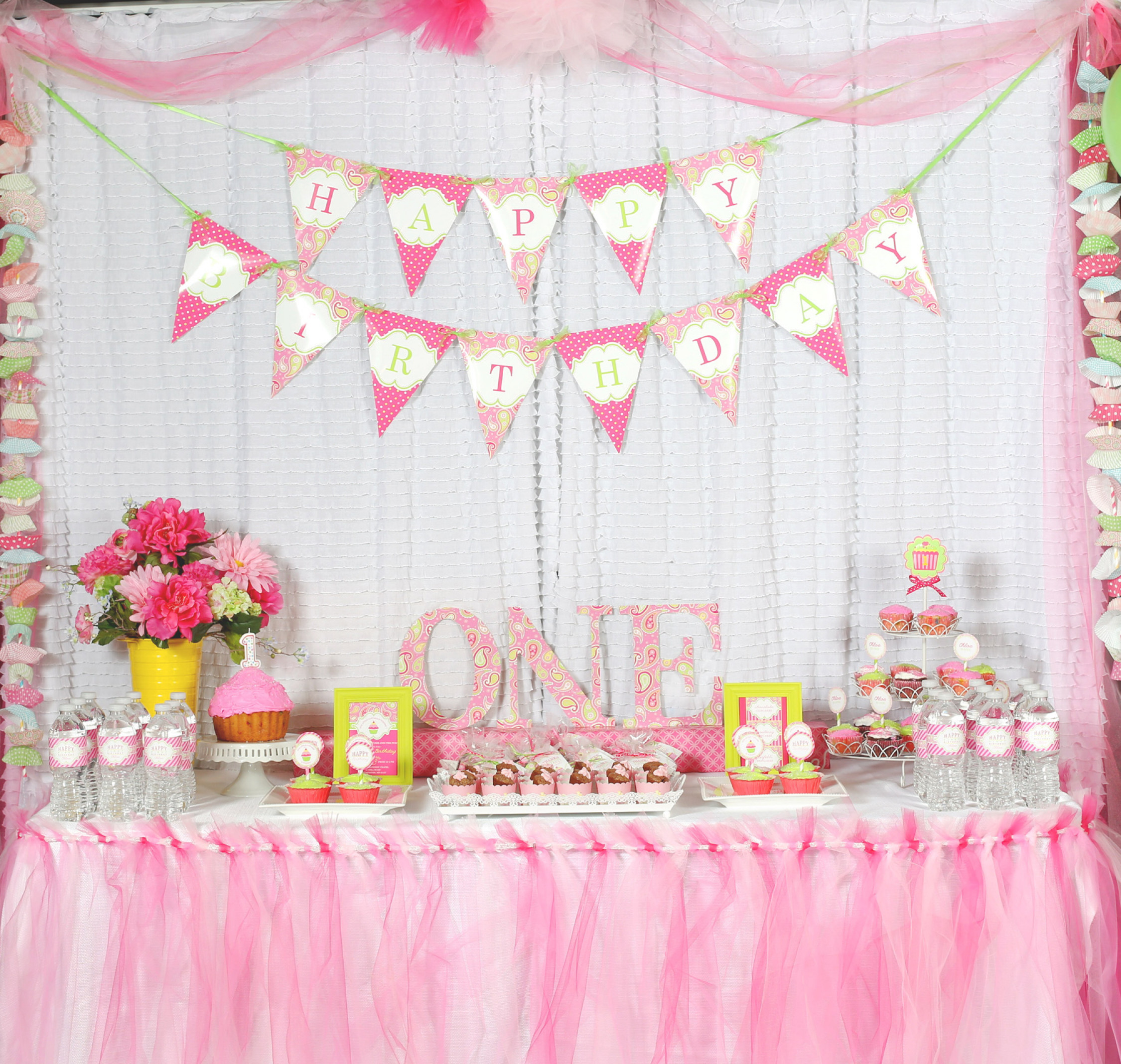 Best ideas about Birthday Girl Decorations . Save or Pin A Cupcake Themed 1st Birthday party with Paisley and Polka Now.