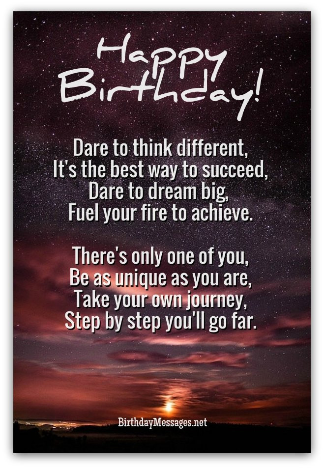 Best ideas about Birthday Inspirational Quotes . Save or Pin Inspirational Birthday Poems Unique Poems for Birthdays Now.