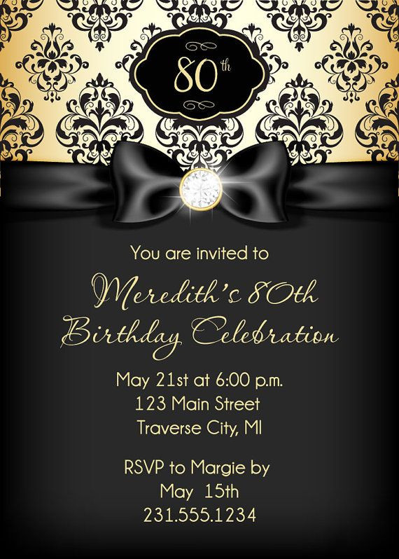 Best ideas about Birthday Invitations For Adults . Save or Pin Diamond Ribbon Birthday Invitation Black and Gold Adult Now.
