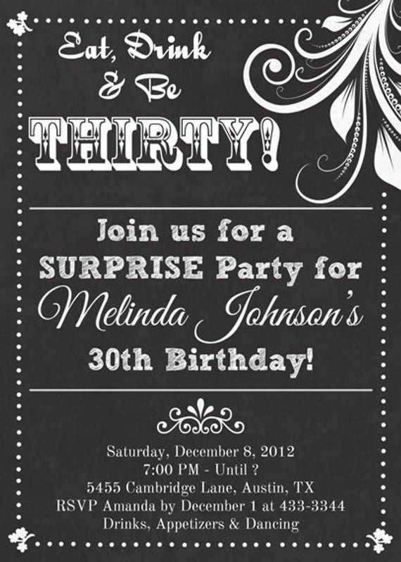 Best ideas about Birthday Invitations For Adults . Save or Pin Chalkboard Look Adult Birthday Party Invitation Now.