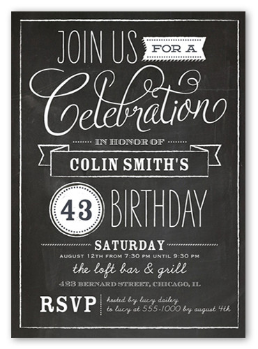 Best ideas about Birthday Invitations For Adults . Save or Pin Chalkboard Wishes Surprise Birthday Invitation Now.