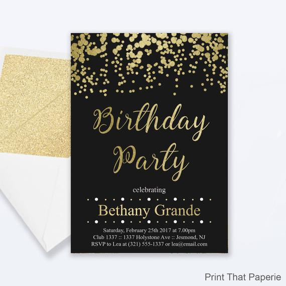 Best ideas about Birthday Invitations For Adults . Save or Pin Adult Birthday Party Invitations Gold Confetti Birthday Now.