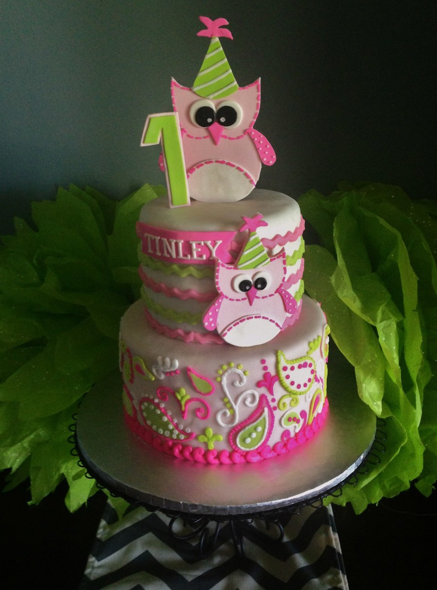 Best ideas about Birthday Party Cake . Save or Pin Owl 1St Birthday Cake Fondant With Piped Buttercream Now.