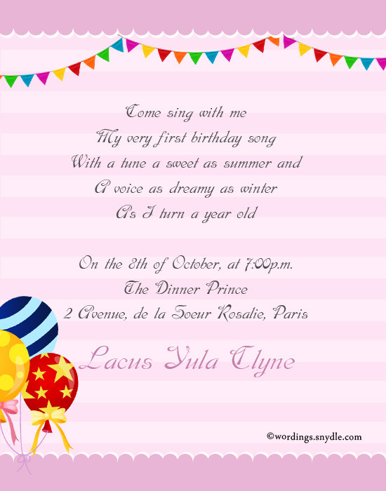 Best ideas about Birthday Party Invitation Message . Save or Pin 1st Birthday Party Invitation Wording Wordings and Messages Now.