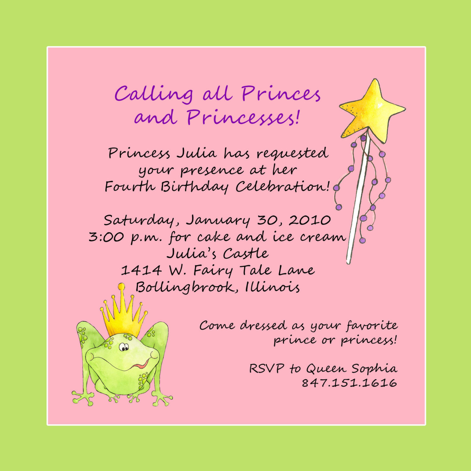 Best ideas about Birthday Party Invitation Message . Save or Pin Princess Theme Birthday Party Invitation Custom Wording Now.