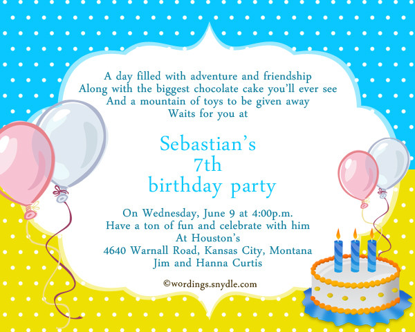 Best ideas about Birthday Party Invitation Message . Save or Pin 7th Birthday Party Invitation Wording Wordings and Messages Now.